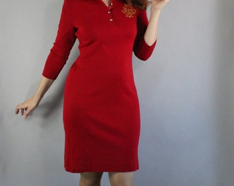 Vintage 90s Women's Red Ralph Lauren Lipstick Red Holiday Party Wear to Work Knit Shirtdress