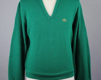 Lacoste Sweater. Mens Sweater. Pullover Sweater. Vintage. Golf Sweater. Green Sweater. Size Large. GOGOVINTAGE