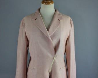 Women's Armani Blazer, Pink Blush Silk Linen Blend Spring Summer Jacket Blazer, Wear to Work, Office, Designer, Size Medium