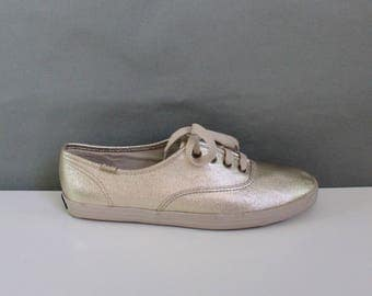 80s Womens Gold Metallic Keds Canvas Sneakers Shoes, Summer Shoes, Modern, Club Shoes, Dancing Shoes, US Size 7.5