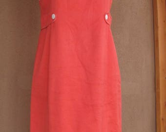 Vintage 90's - Orange and White Sleeveless Summer Dress - Size 12 European