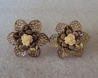 Flower Burst Three Layers Lightweight Metal Flower Designs and Plastic Ivory Rose Center Pierced Vintage Retro Earrings