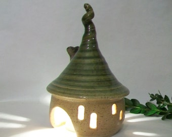 ToadHouse/ Fairy House/ Night Light/Garden House - Green Roof with a Curl  and a Chimney - Hand Made on the  Potters Wheel - Ready to Ship