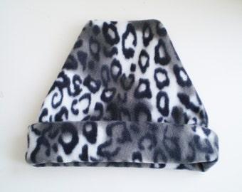 Fleece Gray Leopard Hat, Fleece Grey Leopard Hat, Fleece Leopard Cap, Fleece Leopard Slouchy Hat, Fleece Leopard Slouchy Cap