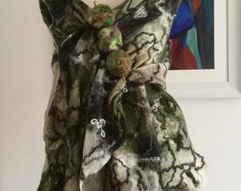 Green beige black cream gold nuno Felted wool silk scarf shawl wrap- lagenlook fibre art to wear