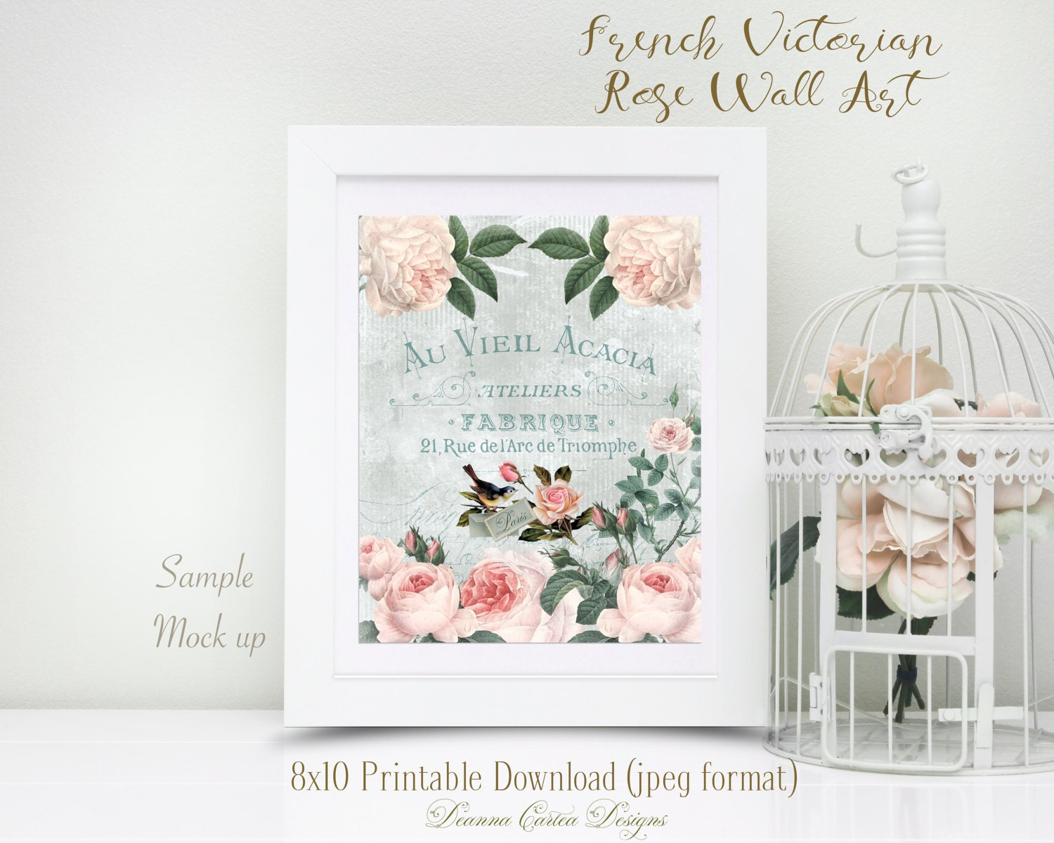 8x10 French Victorian Rose Wall Art Shabby Chic Home Decor Instant Download Printable