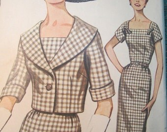 Butterick 2145 Vintage 1960's Square Neck Pencil Dress Pattern with Short Shawl Collar Jacket Pattern -So Audrey Hepburn! - Size 20 Bust 40