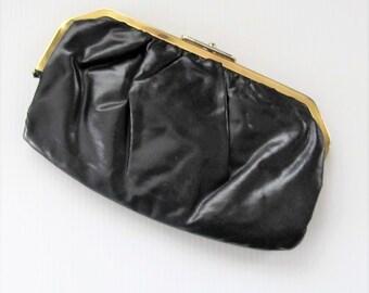 Vintage 1960's Black Clutch Purse / Vinyl Golden Closure Handbag