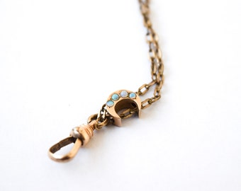 Antique Victorian Slide Chain with Moon and Opals c.1880s
