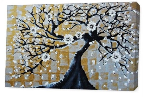 LE Deep Canvas Wrap Giclee Print of Original Impasto Painting Flowering Bonsai Tree Amber Elizabeth Lamoreaux Silver Gold White Modern Art