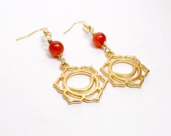 Sacral Chakra Earrings - Carnlian Earrings - Orange - Gemstone Earrings - Gold Chakra