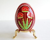 Red poppies painted by hand on real chicken egg shell batik style art work folk art of eastern Europe christian traditional gift ornament eg