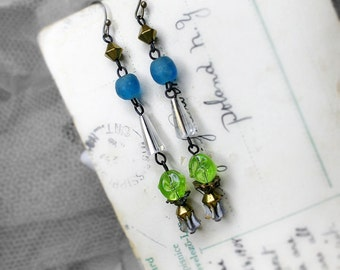 Rustic Assemblage Earrings - Beaded Drop Earrings - Retro Sci-fi Glam - Green Dimpled Lucite, Clear Shuttle Drops, Blue African Trade Beads