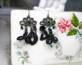 Rustic Chandelier Earrings -  Dark Assemblage Earrings - Tarnished Crowns w Emerald Glass Gem - Handmade Beaded Black Flower & Leaf Charms
