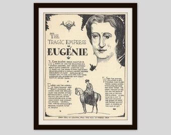 Empress Eugenie, Vintage Illustration, Art Print, Classroom Art, French History, Teacher Gift, World History, Monarchy, Royalty, European