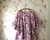 Vintage Floral Cotton Dress Tunic Pink Gray Daisies Prairie Lagenlook  OOAK Ready To Ship 46 Bust