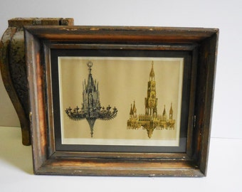Antique framed lithograph Chandeliers Gothic Silver bronze gilt architectural drawings old wood frame