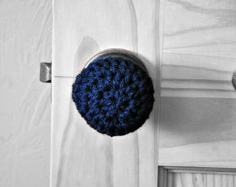 3 Navy Blue Door Knob Covers Modern Design Toddler Protection Crocheted Home Decor Custom Colors