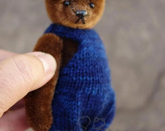 Taylor, Miniature Brown Mohair Artist Teddy Bear Girl from Aerlinn Bears
