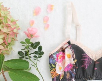 Charcoal Black Floral 'Wild Rose' Watercolor Bohemian Bralette with Peach Lace Handmade to Order