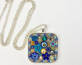 Blue Flower Pendant, Micro Mosaic Necklace, Mosaic Jewelry, Gift for Her, Cornflowers, Gardening, Camilla Klein, Blue Mosaic Blossom