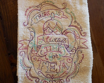 Proceeds To Charity <o>  There's Always Room For Tea Kitchen Terry Hand Towel