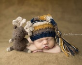 Moose Stuffie and Tassel Hat - Newborn Size, Made To Order