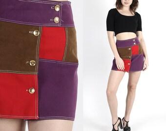 Vintage Skirt Mini Skirt 70s Skirt Patchwork Skirt Boho Skirt Hippie Skirt Biker Skirt Festival Skirt Colorblock Micro Suede Mini Small S