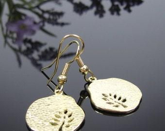 Gold tree surgical Steel earrings, hammered earrings, nickel free earrings, short dangle, for sensitive ears, ladies gift, gold jewelry