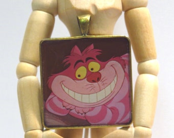Cheshire Cat Pendant Necklace Vintage 1960s Recycled Alice in Wonderland Walt Disney LP Record Story Book Cut-out