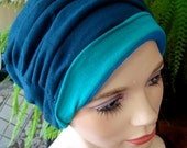 womens hat teal blue  hat chemo soft hat cloche flapper chemo gift