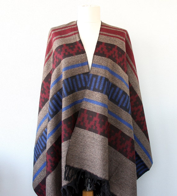 Beige Tribal poncho ethnic wrap festival clothing native poncho mexican poncho native clothing southwestern blanket scarf christmas gift