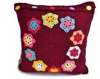 Red Crochet Pillow Cover BURGUNDY with Bright Color Handmade Flower Appliques, Throw Pillow Case Sham Reversible