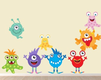 Monsters REUSABLE Decals Non-toxic Fabric Wall Decals for Kids, A145