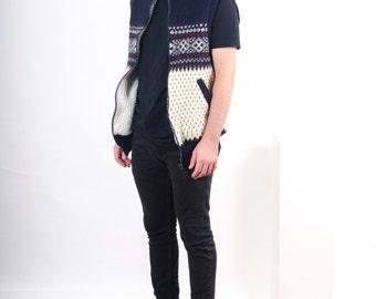 Sleeveless Knitted Vest / Navy Wool Jumper / Winter Oversized Cardigan