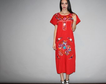 Vintage 1960s Oaxacan Red Midi Rainbow Floral Embroidered  Boho Hippie Folk Ethnic  Mexican Wedding Cotton Dress  - W00042
