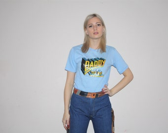 Vintage 70s Daddy to Be  Blue Paper Thin 50 50 Cotton Poly Glitter T Shirt  - Vintage  70s T Shirts -  W00285