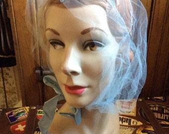Vintage 1950s 1960s Bouffant Bonnet Cap Light Blue Tulle Dramatic Pin Up Burlesque