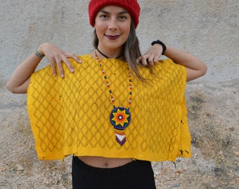 Vintage HUIPIL Sunflower Bright Yellow and Black Guatemalan Huipil Poncho Top