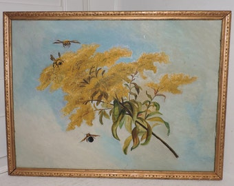 Reserved for nancy~Antique VICTORIAN Sunday Art NAIVE Yellow FORSYTHIA Flower & Bees Painting c1910s