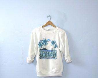 Vintage 90's sweatshirt, Hawaii, Hawaiian, white sweatshirt, jumper, large