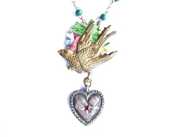 Sweetheart — vintage eagle and heart  necklace with antique watch chain — Sweetheart