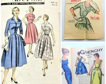 Vintage 1950s Dress Pattern by Advance / 50s Sewing Pattern Shirtwaist Dress
