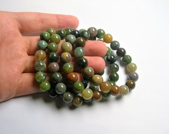 Indian agate - 10mm round beads - 19 beads - 1 set - A quality  - HSG52