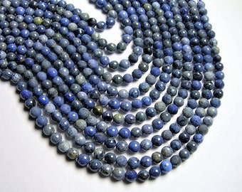 Dumortierite - 8 mm faceted round beads - full strand - 48 beads - light tone Dumortierite -  RFG1242