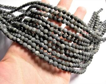 Larvikite black labradorite matte - 6mm full strand 65 beads - matte - RFG1280