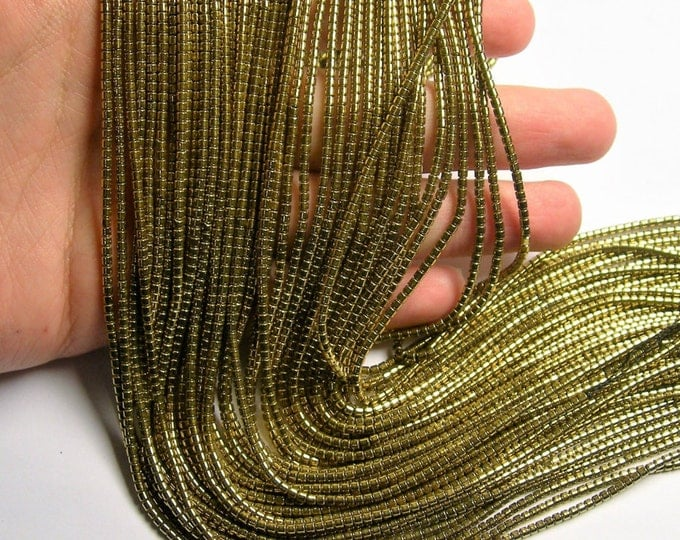 Hematite Gold - 2mm tube beads - 1 full strand - 205 beads - AA quality - 2mmx2mm - light gold - PHG251