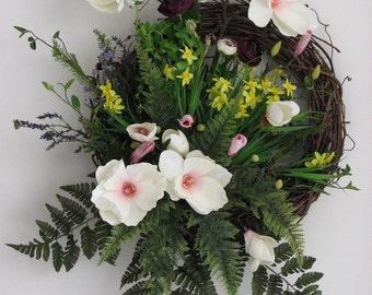 Spring Wreath – Ferns and Blooms - Door Wreath – Front Door Wreath – Outdoor Door Wreath – Summer Wreath – Spring Wreaths for Front Door