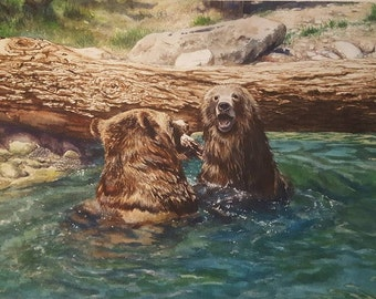 Two Bears in the Water. 8.5x11 Watercolor Print