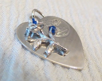 Happy Birthday Heart, Flowers with Blue Stones Sterling Silver Charm by M&M